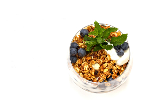 Natural-yogurt-with-berries-and-muesli-isolated