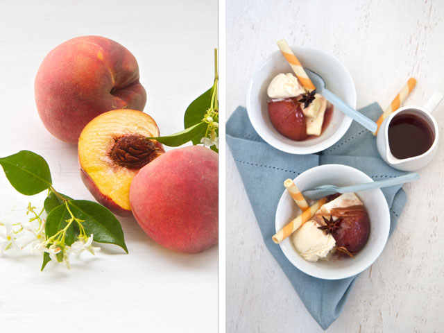 Peaches and nougat dessert