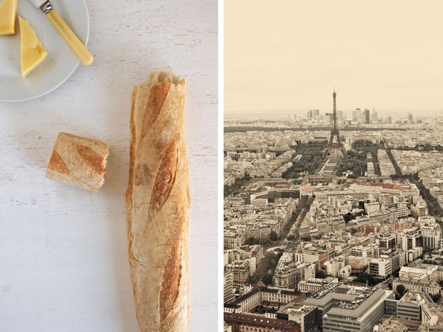 French baguette and view of Paris