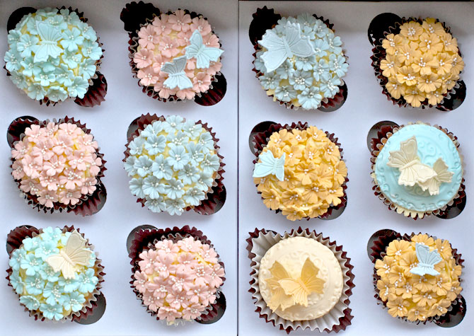 Chocolate cupcakes with flower icing