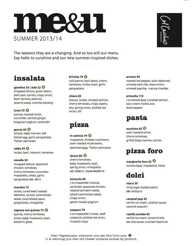 Col'Cacchio summer menu