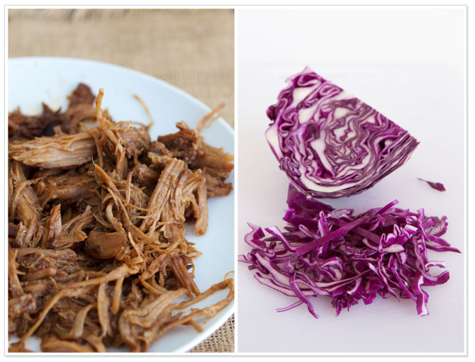 Pulled pork and purple cabbage