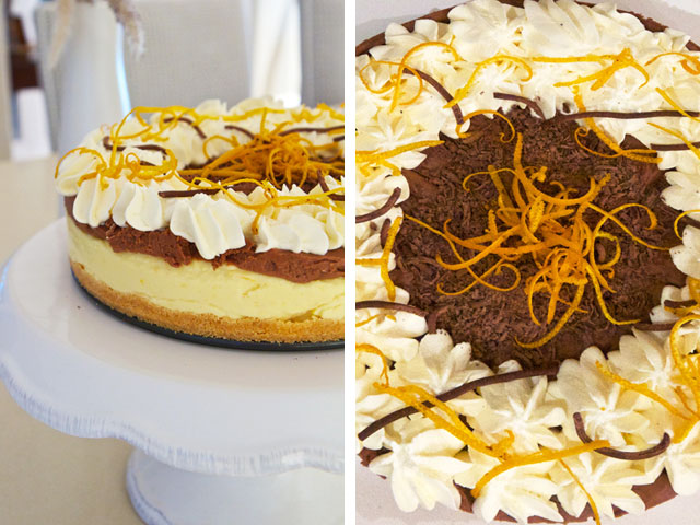 Cheesecake with chocolate and orange