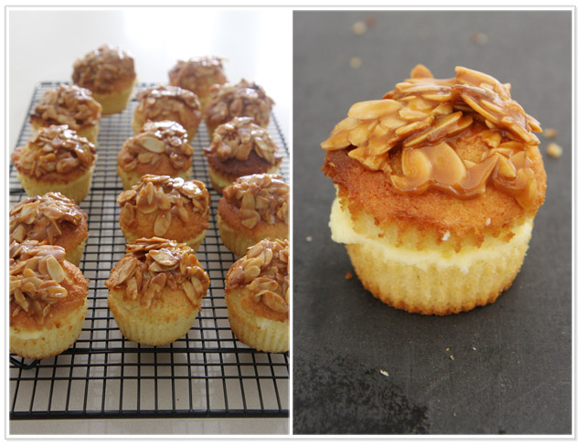 Cupcakes on a tray with almonds