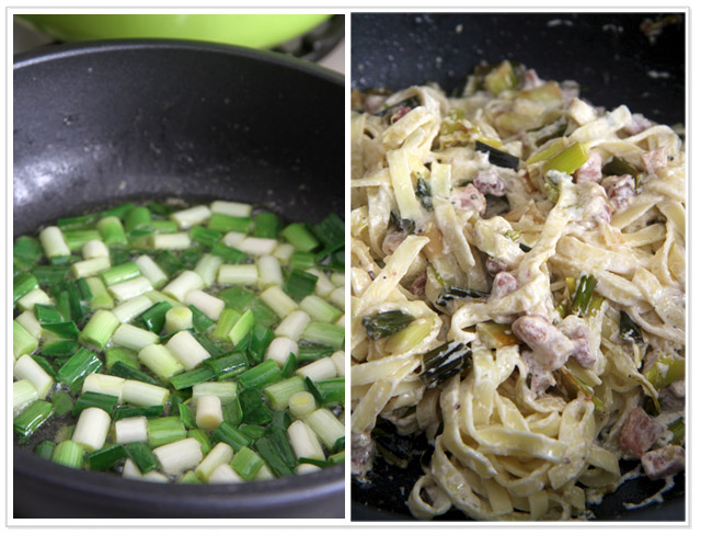 Pasta with leek and pancetta