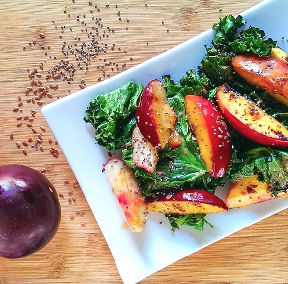 Kale and grilled peach salad